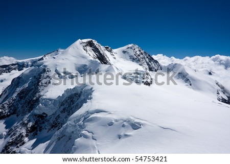 Swiss alpine mountain massive Lyskamm - stock photo