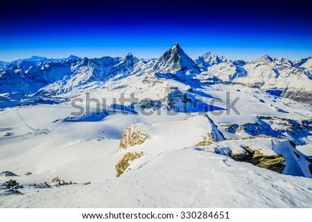 Swiss Alps - Matterhorn, Switzerland, panorama - stock photo