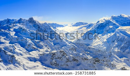 Swiss Alps panorama from Mont Fort, Verbier, Switzerland  - stock photo