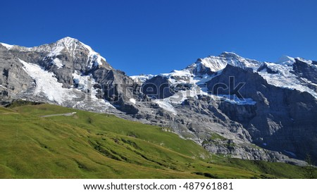 Swiss Alps seen from Kleine Scheidegg, Bernese Oberland, Switzerland