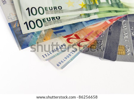 Swiss and european money with credit cards - stock photo