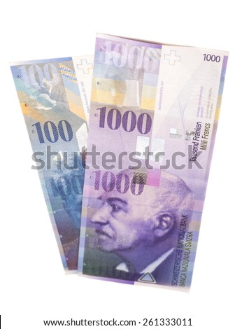 Swiss 1000 and 100 Franc notes isolated on white - stock photo