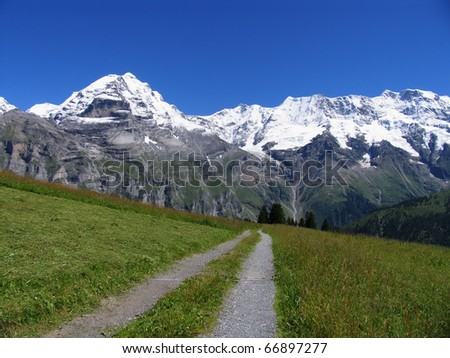 Swiss beauty, Jungfrau from the path under Schilthorn