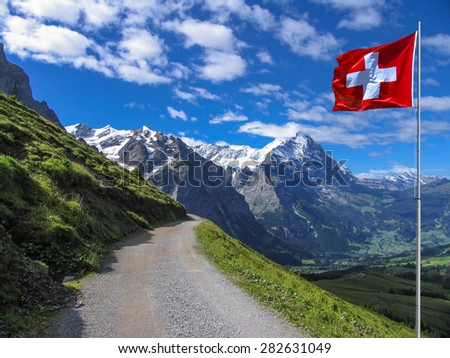 Swiss beauty, view to Schreckhorn from the path above Grindenwald