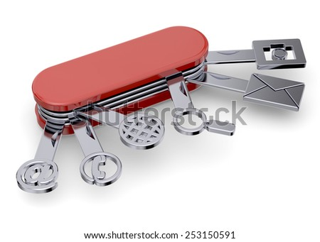Swiss boxcutter and tecnological icon - stock photo