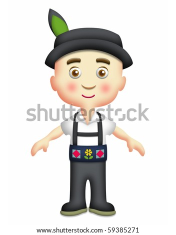 Swiss boy wearing traditional costume with hat. - stock photo