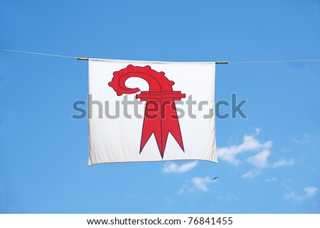 Swiss Canton Flag Series: Canton Basel-land: the red crosier resembles a shepherd's crook carried by bishops - stock photo