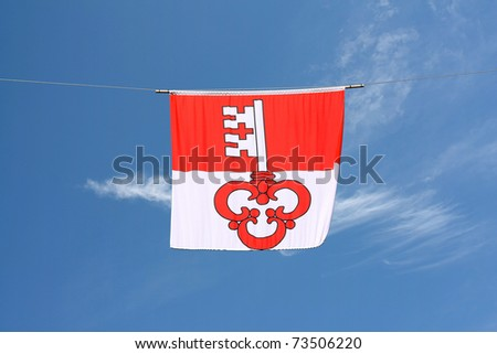 Swiss Canton Flag Series: Canton Oberwalden (Key of Saint Peter is based on the basic red-white color of Switzerland) - stock photo