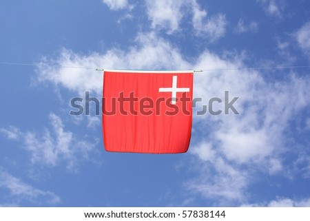 Swiss Canton Flag Series: Schwyz; the white cross is associated with Christ, the red color symbolizes the suffering of Christ. - stock photo