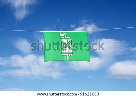 Swiss Canton Flag Series: St. Gallen: The fasces on a green background dates back to ancient Rome. If judges appeared in public, two or more lectors led their way as a symbol of the judiciary. - stock photo