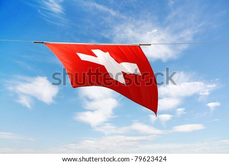 Swiss Canton Flag Series: the national flag, white cross on red background - stock photo