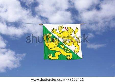 Swiss Canton Flag Series: Thurgau, the two running lions are in green and white color background, the green symbolizes freedom, the white stands for innocence. - stock photo