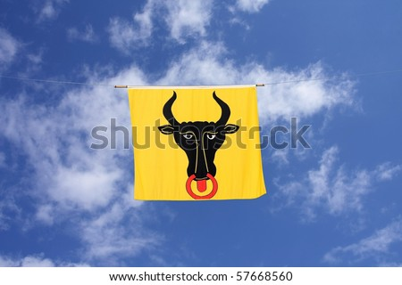 Swiss Canton Flag Series: Uri � the ox with nose-ring symbolizes the taming of animals by the first settlers - stock photo