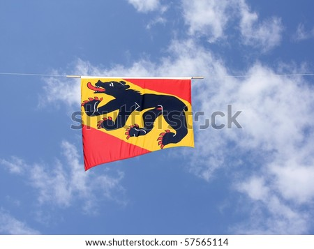 Swiss Cantons Flag Series - Canton Bern (the symbol of bear is associated with the pronounciation of Bern) - stock photo