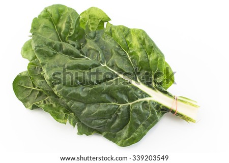 Swiss chard isolated on white.