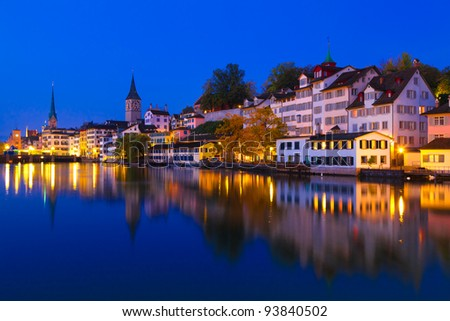Swiss city Zurich shortly before dawn - stock photo