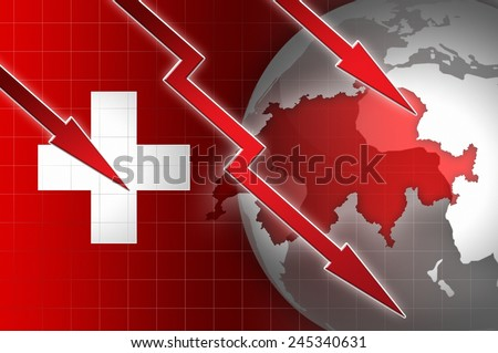 swiss economy currency decline illustration with red down arrow background - stock photo