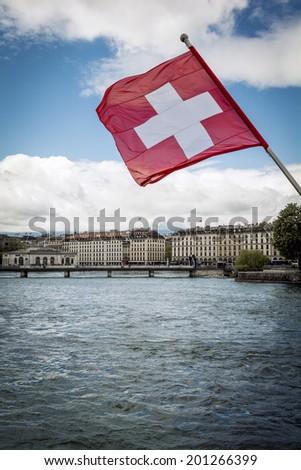 Swiss flag - stock photo