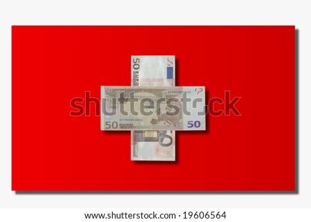 Swiss flag and Euros - stock photo