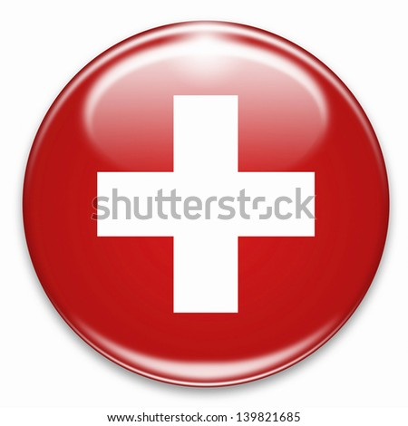 swiss flag button isolated on white - stock photo