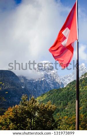 Swiss flag flutters in the wind on a background of mountains. There is a tree in the foreground, side of mountains covered by forest. There is snow on the mountain tops in the background. - stock photo