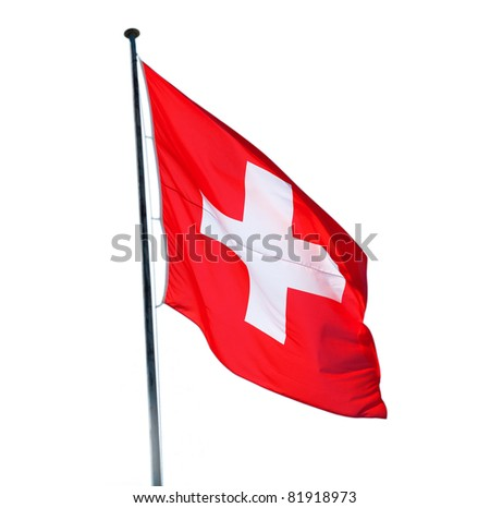 Swiss flag isolated on the white background - stock photo