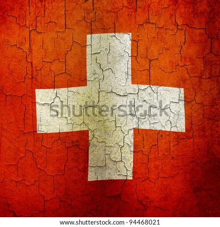 Swiss flag on a cracked grunge background - stock photo