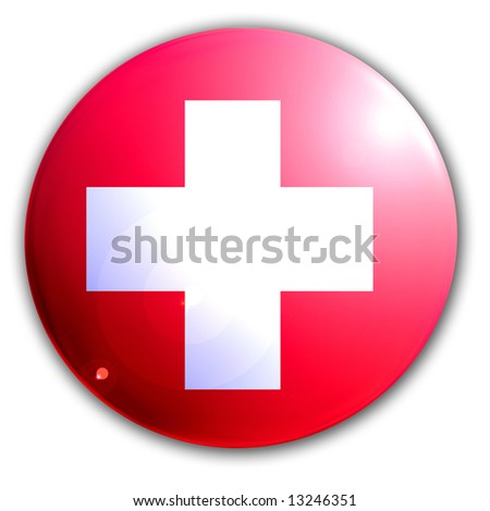 swiss flag on a solid white background