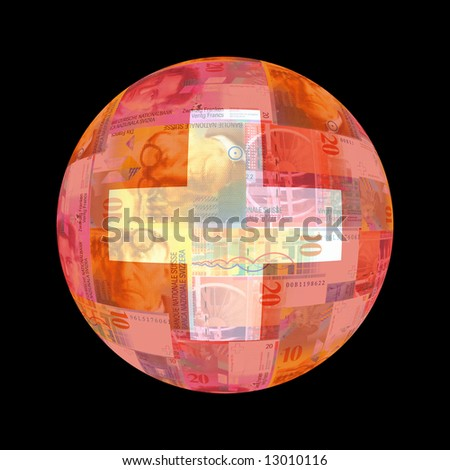 Swiss flag on currency globe illustration - stock photo