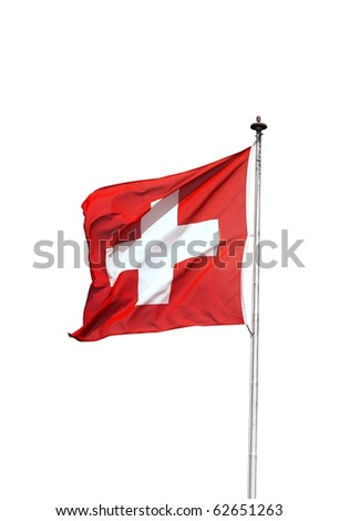 Swiss flag swinging on a pole, isolated - stock photo