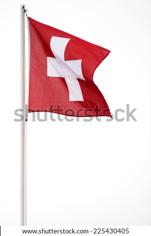 Swiss flag swinging on a pole, white background - stock photo