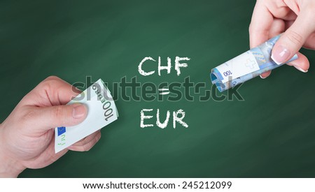 Swiss Franc and Euro banknotes on green board - Swiss Franc and euro is equal - stock photo