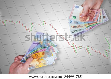 Swiss Franc and Euro banknotes on stock market chart background - stock photo