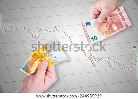 Swiss Franc and Euro banknotes on stock market chart background - Swiss Franc and euro is equal - stock photo