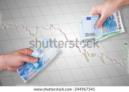 Swiss Franc and Euro banknotes on stock market chart background - Swiss Franc is stronger than Euro - stock photo