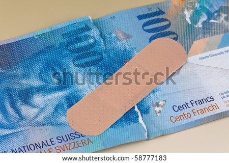 Swiss franc banknotes. Currency of Switzerland. - stock photo