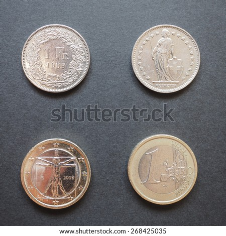 Swiss franc (CHF) and Euro (EUR) coins - stock photo