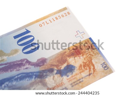 Swiss Franc note, isolated  - stock photo