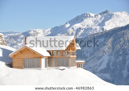 Swiss holiday cottage in Braunwald - stock photo