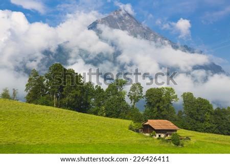 Swiss House in Idyllic summer landscape with mountain on background , Switzerland Interlaken - Lauterbrunnen  - stock photo
