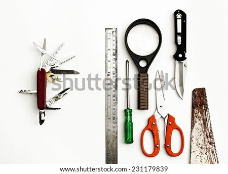 Swiss knife and many tools. Concept all in one, teamwork, multipurpose. (HDR) - stock photo