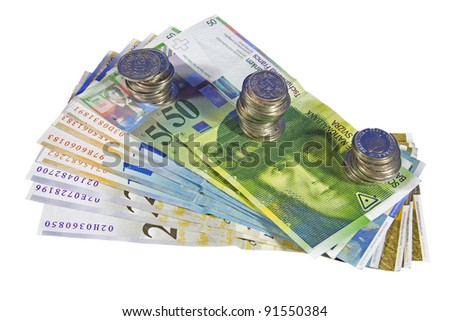 Swiss money currency isolated on white - stock photo