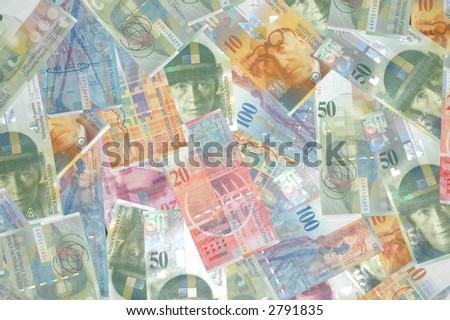 Swiss money montage - stock photo