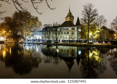 Swiss National Museum (Schweizerisches Landesmuseum) in Zurich at Night, Switzerland - stock photo