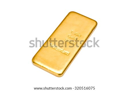 Swiss One Kilogram Golden Ingot. Isolated