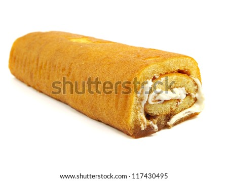 Swiss roll cake on a white background