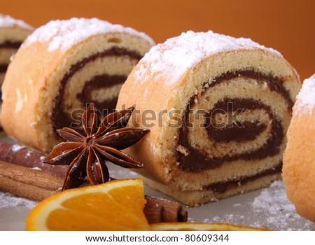 swiss roll chocolate - stock photo