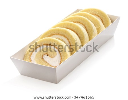 Swiss roll in a white box  - stock photo