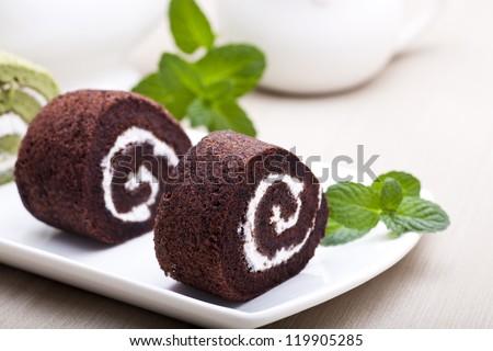 Swiss rolls - stock photo