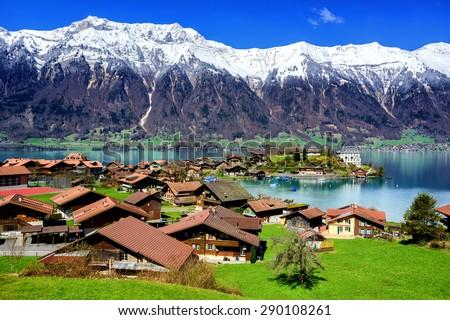 Swiss village resort, Switzerland - stock photo